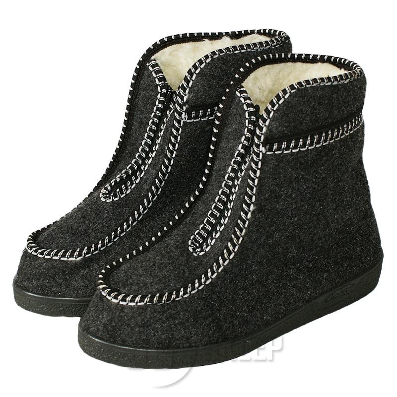 Kapcie buty wysokie filcowe z kożuchem