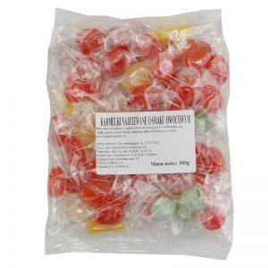 Cukierki karmelki nadziewane o smaku owocowym 300g