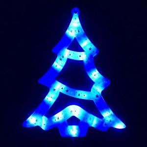 Ozdoba świecąca świąteczna okno Choinka niebieski