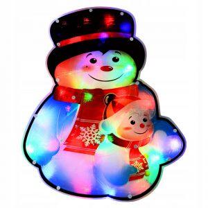 Ozdoba świecąca świąteczna okno LED Bałwanki