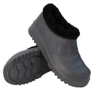 Buty męskie kalosze piankowe ogrodowe ocieplane Klamra Szare