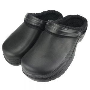 Chodaki damskie klapki ogrodowe ocieplane kroksy Krop4 czarne
