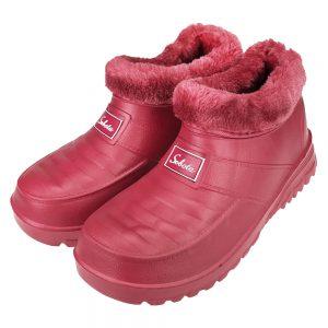 Buty damskie kalosze piankowe ogrodowe ocieplane Belt Różowe